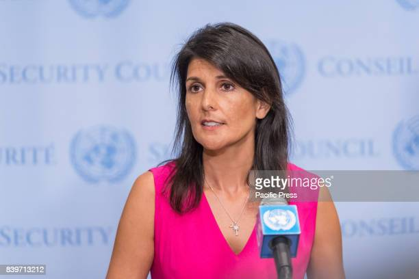 Permanent Representative to the United Nations Ambassador Nikki Haley is seen during a press encounter at the Security Council stakeout at UN...