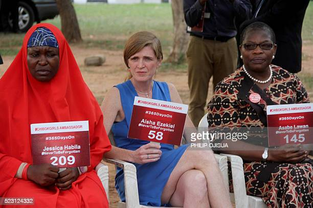 US Permanent Representative to the United Nations Samantha Power is flanked by members of the Bring Back Our Girls group Aisha Yesufu and leader Oby...