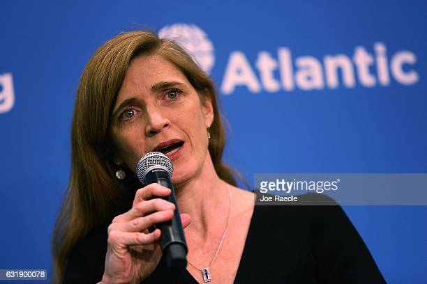 S Permanent Representative to the United Nations Samantha Power speaks during a discussion at the Atlantic Council on The Future of USRussia...