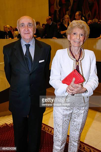 Permanent Secretary of 'Academie Francaise' Helene Carrere d'Encausse and her husband Antoine Carrere d'Encausse attending the celebration of 26...