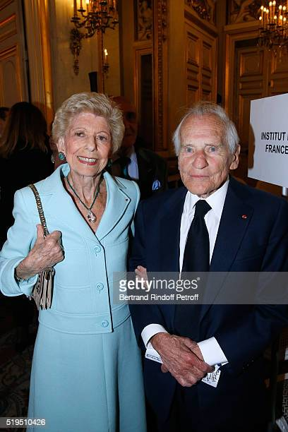 Permanent Secretary of 'Academie Francaise' Helene Carrere d'Encausse and Academician Jean d'Ormesson attend writer Marc Lambron receives 'L'Epee...