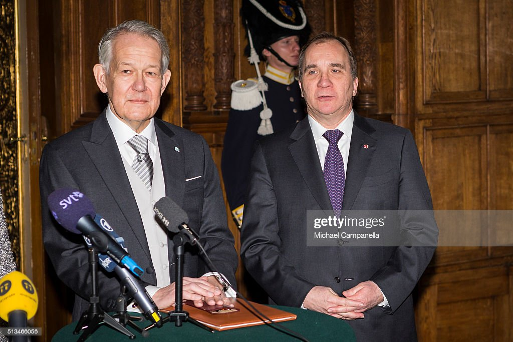 Permanent secretary Svante Lindqvist and Swedish prime minister Stefan Lofven give a press conference announcing the birth of Prince Oscar Carl Olof at the Royal Palace on March 3, 2015 in Stockholm, Sweden.