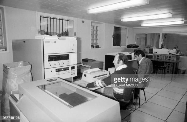 Permier ordinateur de gestion à la mairie de Suresnes en banlieue parisienne le 16 novembre 1977 France