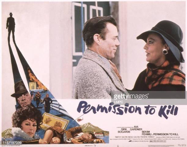 Permission To Kill, , US lobbycard, bottom from left: Dirk Bogarde, Ava Gardner, Nicole Calfan, top from left: Dirk Bogarde, Ava Gardner, 1975.