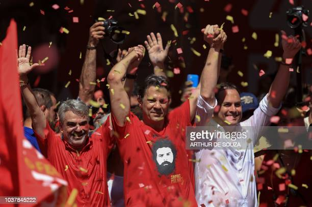 Pernambuco's Senate candidate for the Workers Party Humberto Costa Brazil's presidential candidate for the Workers Party Fernando Haddad and...