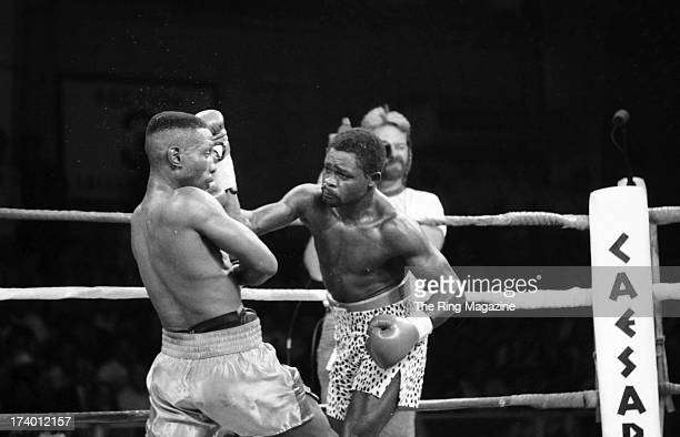 Pernell Whitaker looks to block the punch from Azumah Nelson during the fight at Caesars Palace in Las Vegas Nevada Pernell Whitaker won the WBC...
