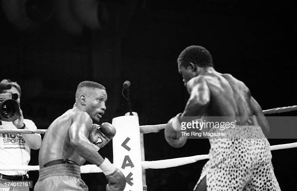 Pernell Whitaker looks to throw a punch against Azumah Nelson during the fight at Caesars Palace in Las Vegas Nevada Pernell Whitaker won the WBC...