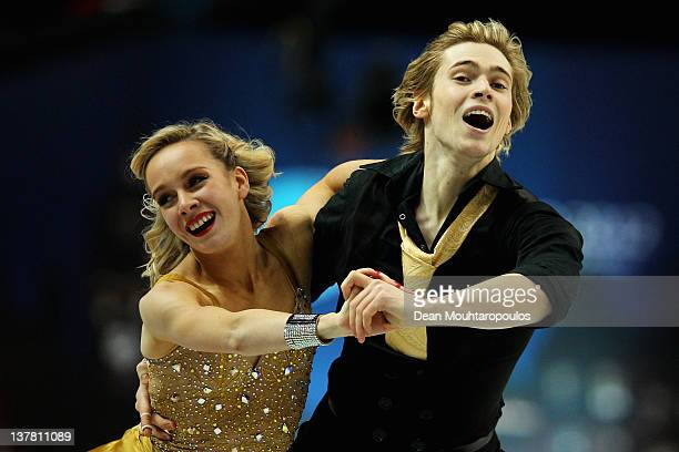 Pernelle Carron and Lloyd Jones of France perform in the Ice Dance Free Dance during the ISU European Figure Skating Championships at Motorpoint...