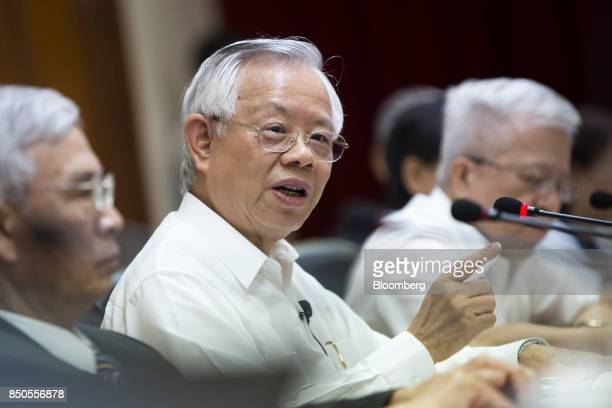 Perng Fai-nan, governor of the Central Bank of the Republic of China , speaks during a news conference in Taipei, Taiwan, on Thursday, Sept. 21,...