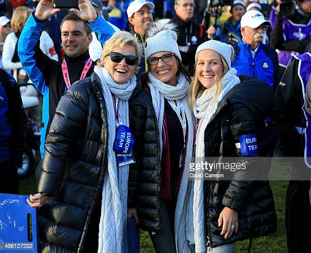 Pernilla Bjorn wife of Thomas Bjorn of Europe Suzanne Torrance wife of Europe team vice captain Sam Torrance and Susanne Jimenez wife of Europe team...