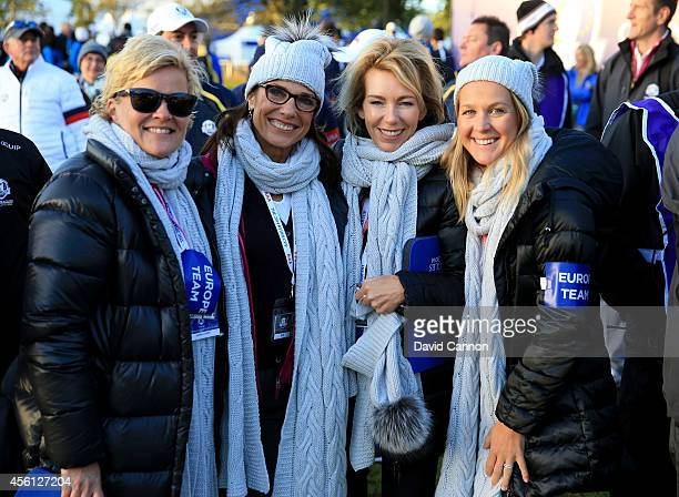 Pernilla Bjorn wife of Thomas Bjorn of Europe Suzanne Torrance wife of Europe team vice captain Sam Torrance Allison McGinley wife of Europe team...