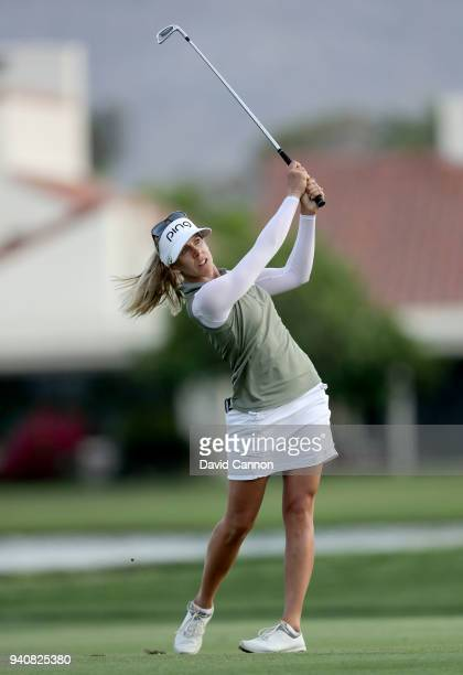 Pernilla Linberg of Sweden plays her third shot on the 18th hole in the first playoff hole during the final round of the 2018 ANA Inspiration on the...