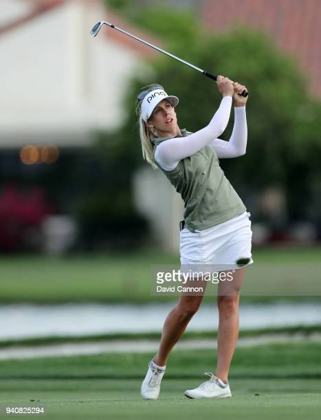 Pernilla Linberg of Sweden plays her third shot on the 18th hole during the final round of the 2018 ANA Inspiration on the Dinah Shore Tournament...