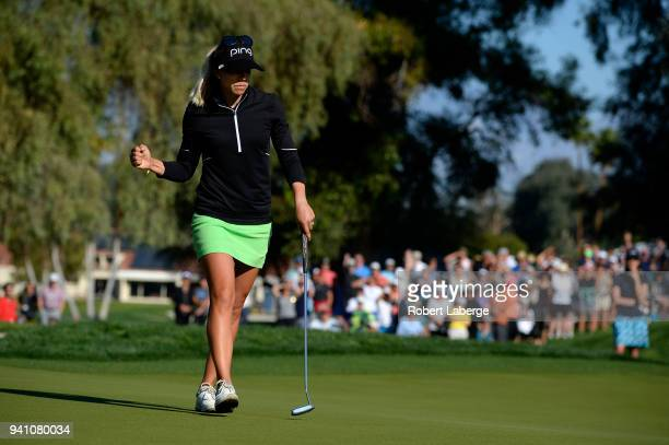 Pernilla Lindberg of Sweden celebrates making a putt on the 10th green and eighth sudden death hole during the final round of the ANA Inspiration on...