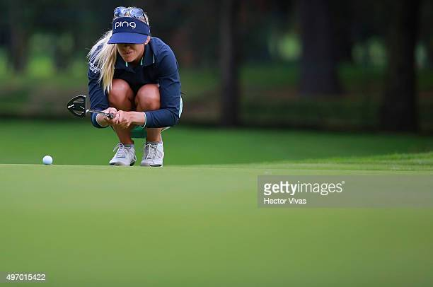 Pernilla Lindberg of Sweden gestures during the second round of Lorena Ochoa Invitational 2015 at the Club de Golf Mexico on November 13 2015 in...