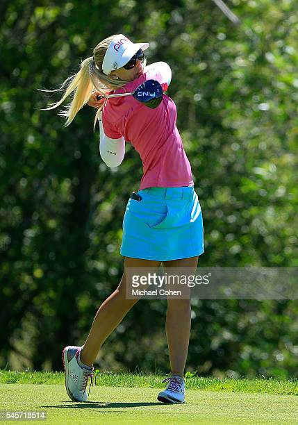 Pernilla Lindberg of Sweden hits a drive during the third round of the Cambia Portland Classic held at Columbia Edgewater Country Club on July 2 2016...
