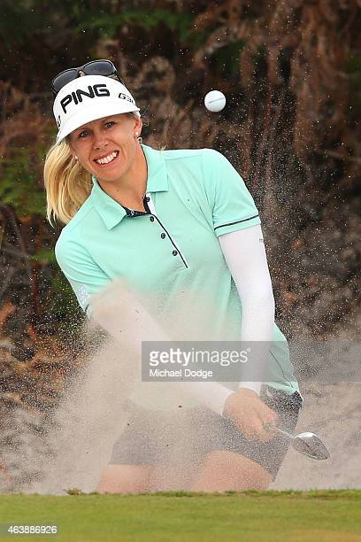 Pernilla Lindberg of Sweden hits an approach shot on the 6th hole during day two of the LPGA Australian Open at Royal Melbourne Golf Course on...