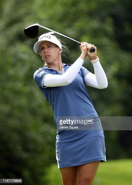 Pernilla Lindberg of Sweden hits her first shot on the 15th hole during the first round of the KPMG Women's PGA Championship at Hazeltine National...