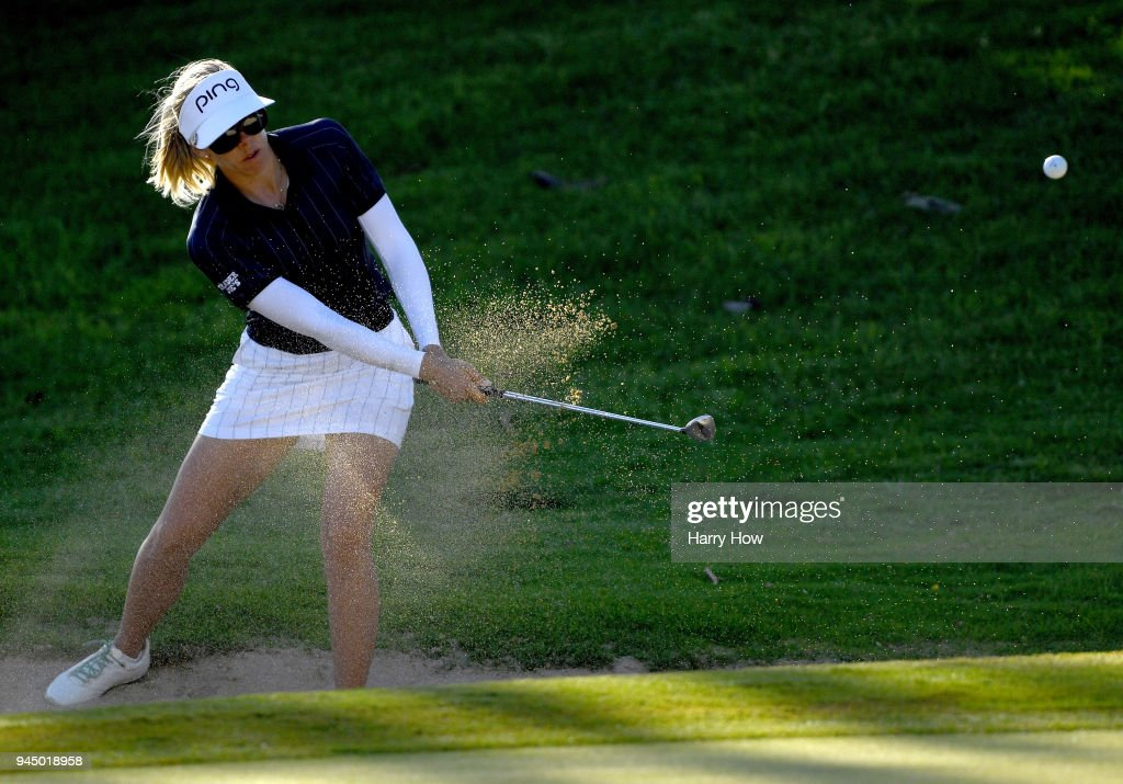 Pernilla Lindberg of Sweden hits out of the rough on the 17th hole during the first round of the LPGA LOTTE Championship at the Ko Olina Golf Club on April 11, 2018 in Kapolei, Hawaii.
