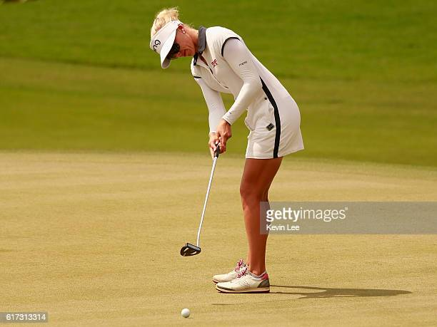 Pernilla Lindberg of Sweden in action during the final round of Blue Bay LPGA on Day 4 on October 23 2016 in Hainan Island China