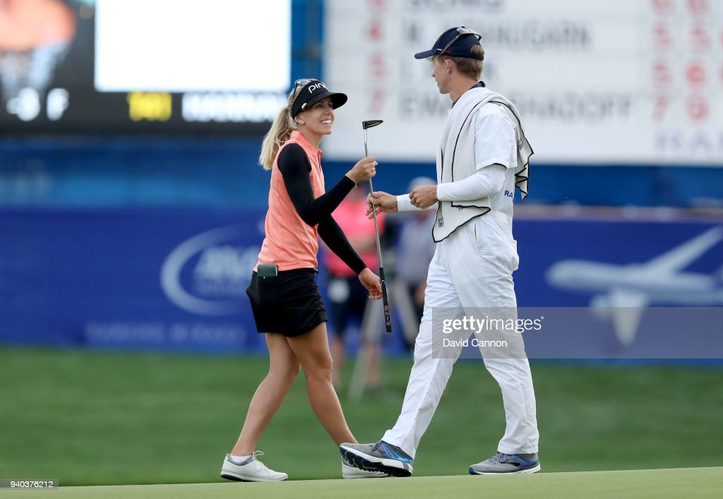 Pernilla Lindberg of Sweden is all smiles with caddia fiancee Daniel Taylor after her birdie on 18 secured her a three shot lead heading into the final round during the third round of the 2018 ANA Inspiration on the Dinah Shore Tournament Course at Mission Hills Country Club on March 31, 2018 in Rancho Mirage, California.