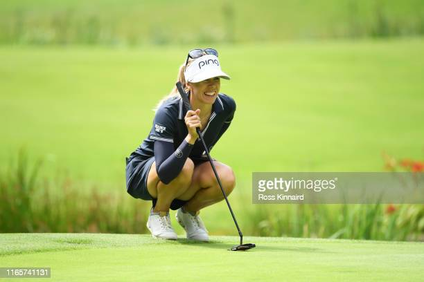 Pernilla Lindberg of Sweden lines up a putt on the 12th green during Day Two of the AIG Women's British Open at Woburn Golf Club on August 02 2019 in...