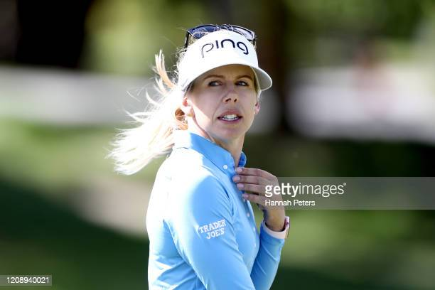 Pernilla Lindberg of Sweden looks on during day one of the 2020 New Zealand Golf Open at Millbrook Resort on February 27 2020 in Queenstown New...
