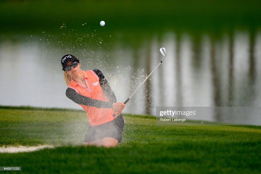 Pernilla Lindberg of Sweden makes a shot out of a bunker on the fifth hole during round three of the ANA Inspiration on the Dinah Shore Tournament Course at Mission Hills Country Club on March 31, 2018 in Rancho Mirage, California.