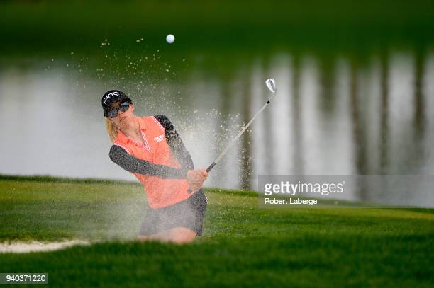 Pernilla Lindberg of Sweden makes a shot out of a bunker on the fifth hole during round three of the ANA Inspiration on the Dinah Shore Tournament...