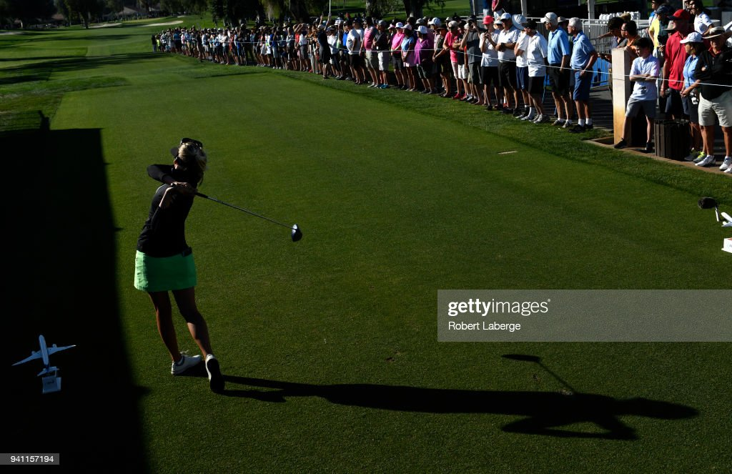 Pernilla Lindberg of Sweden makes a tee shot on the 10th tee box and eighth sudden death hole during the final round of the ANA Inspiration on the Dinah Shore Tournament Course at Mission Hills Country Club on April 2, 2018 in Rancho Mirage, California.