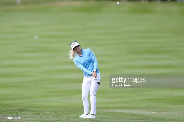 Pernilla Lindberg of Sweden plays a shot during day one of the 2020 New Zealand Golf Open at Millbrook Resort on February 27 2020 in Queenstown New...