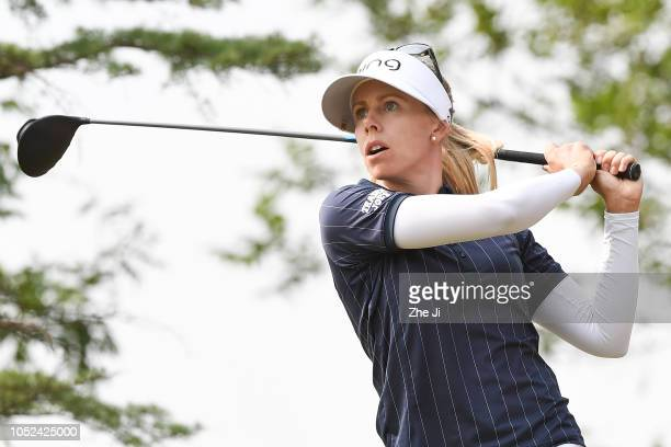 Pernilla Lindberg of Sweden plays a shot during the first round of the Buick LPGA Shanghai at Shanghai Qizhong Garden Golf Club on October 18 2018 in...