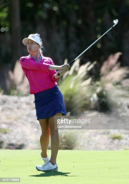 Pernilla Lindberg of Sweden plays a shot on the second hole during round three of the CME Group Tour Championship at the Tiburon Golf Club on...