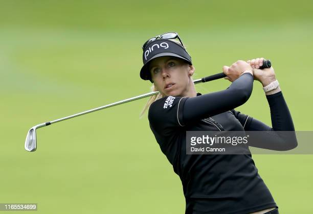 Pernilla Lindberg of Sweden plays her second shot on the 18th hole during Day One of the AIG Women's British Open on the Marquess Course at Woburn...