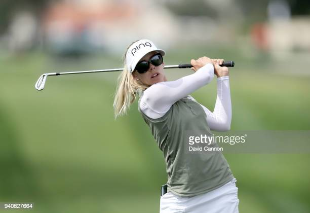 Pernilla Lindberg of Sweden plays her second shot on the second hole during the final round of the 2018 ANA Inspiration on the Dinah Shore Tournament...