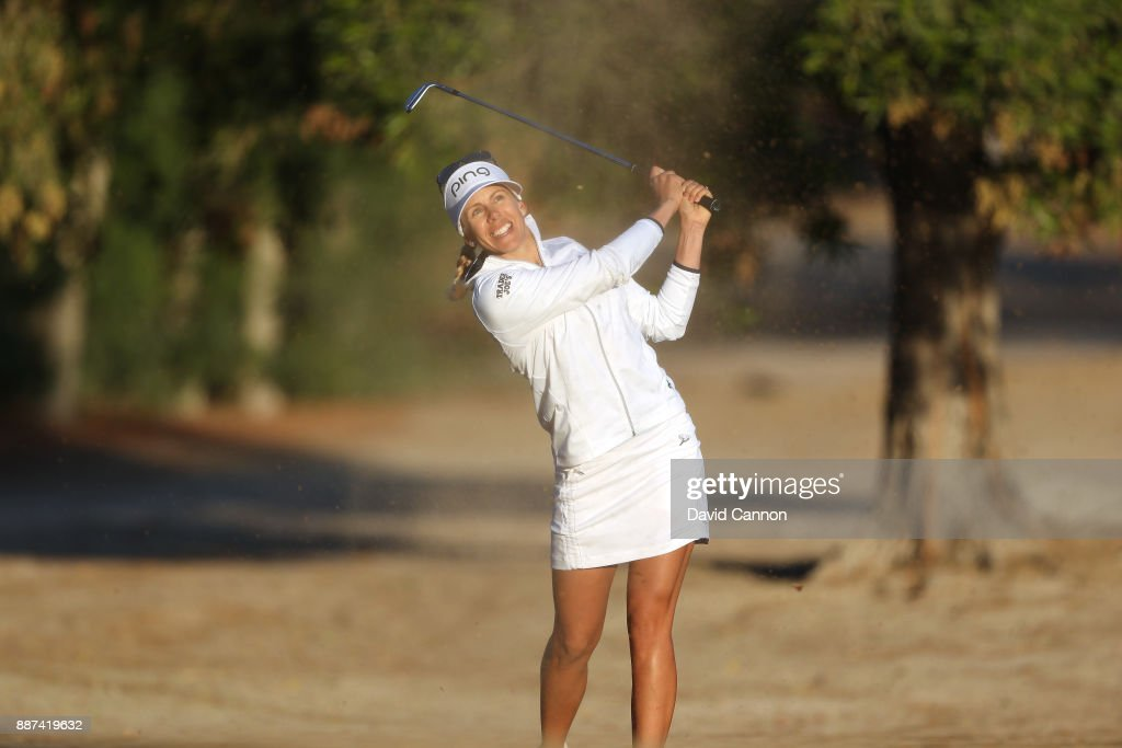 Pernilla Lindberg of Sweden plays her third shot on the par 5, 10th hole during the second round of the 2017 Dubai Ladies Classic on the Majlis Course at The Emirates Golf Club, on December 7, 2017 in Dubai, United Arab Emirates.