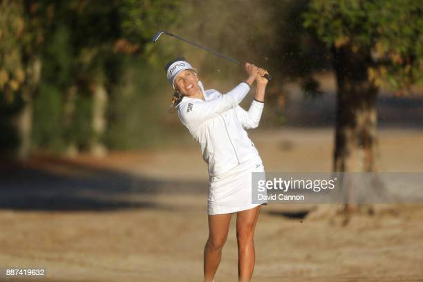 Pernilla Lindberg of Sweden plays her third shot on the par 5 10th hole during the second round of the 2017 Dubai Ladies Classic on the Majlis Course...