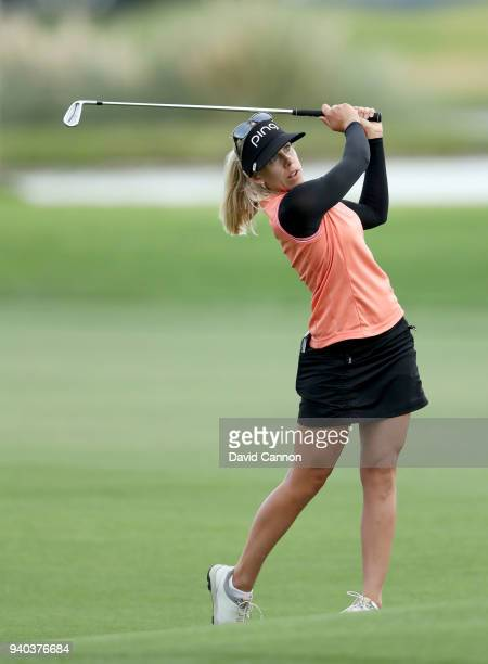 Pernilla Lindberg of Sweden plays her third shot on the par 5 18th hole during the third round of the 2018 ANA Inspiration on the Dinah Shore...