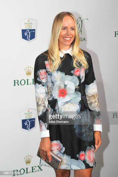 Pernilla Lindberg of Sweden poses for a photo on the green carpet during the LPGA Rolex Players Awards at the RitzCarlton Golf Resort on November 15...