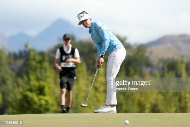 Pernilla Lindberg of Sweden putts during day one of the 2020 New Zealand Golf Open at Millbrook Resort on February 27 2020 in Queenstown New Zealand
