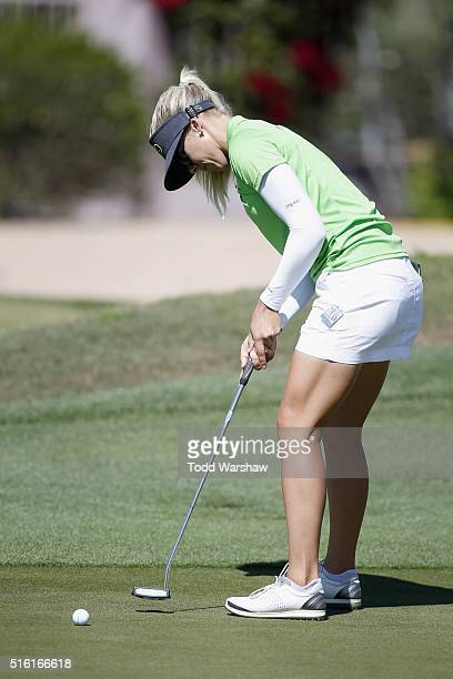 Pernilla Lindberg of Sweden putts on the 11th green during the first round of the LPGA JTBC Founders Cup at Wildfire Golf Club on March 17 2016 in...