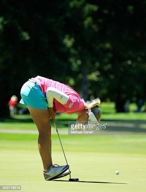 Pernilla Lindberg of Sweden reacts to her missed putt on the ninth green during the third round of the Cambia Portland Classic held at Columbia...