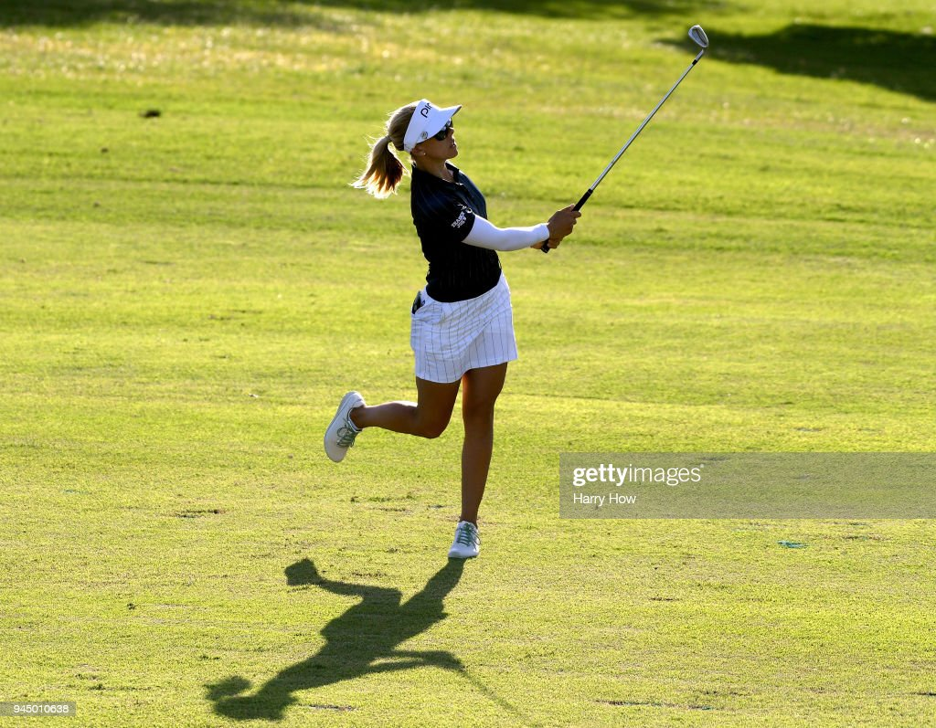 Pernilla Lindberg of Sweden reacts to her second shot on the 17th hole during the first round of the LPGA LOTTE Championship at the Ko Olina Golf Club on April 11, 2018 in Kapolei, Hawaii.