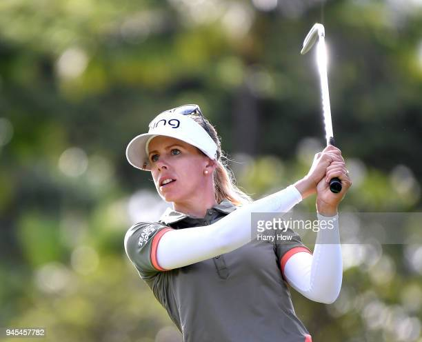 Pernilla Lindberg of Sweden watches her second shot on the 10th fairway during the second round of the LPGA LOTTE Championship at the Ko Olina Golf...
