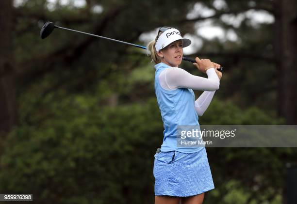 Pernilla Lindberg of Sweden watches her tee shot on the 12th hole during the second round of the Kingsmill Championship presented by Geico on the...