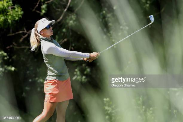 Pernilla Lindberg of Sweden watches her tee shot on the 17th hole during the second round of the 2018 KPMG PGA Championship at Kemper Lakes Golf Club...