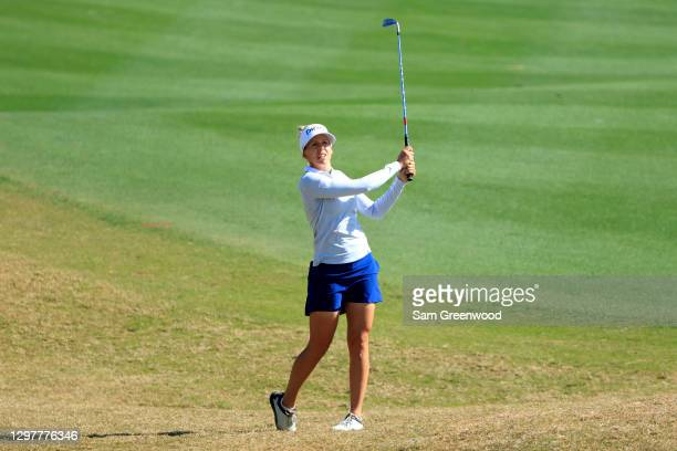 Pernilla Lindberg plays a shot on the seventh hole during the first round of the Diamond Resorts Tournament Of Champions at Tranquilo Golf Course at...