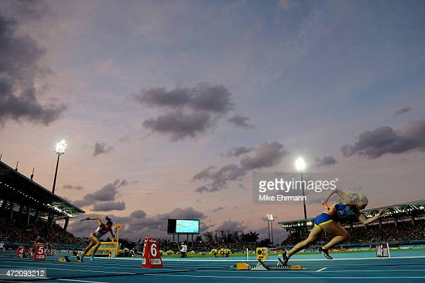 Pernilla Nilsson of Sweden competes during round one of the women's 4 x 100 metres on day two of the IAAF/BTC World Relays Bahamas 2015 at Thomas...