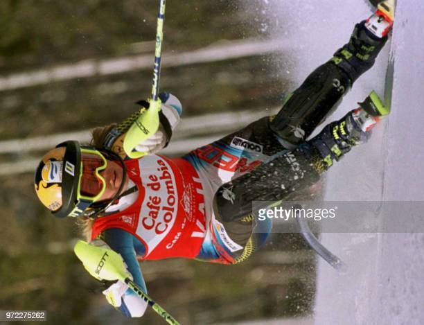 Pernilla Wiberg of Sweden passes a gate during the first heat of the Women's Slalom 16 March at the World Cup Ski Finals at Vail Colorado Wiberg tied...