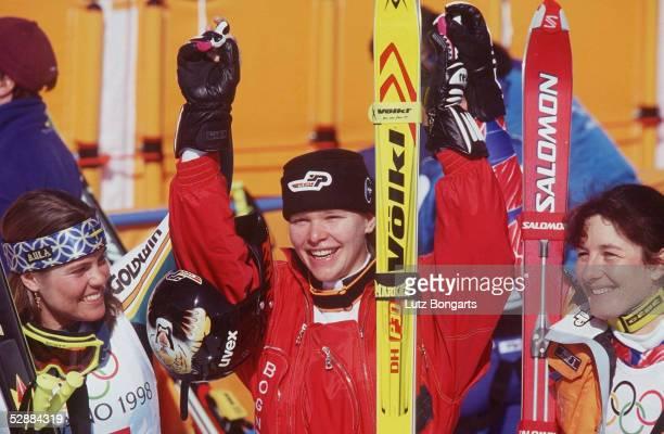 NAGANO 1998 Pernilla WIBERG/SWE SILBER Katja SEIZINGER/GER GOLD Florence MASNADA/FRA BRONZE